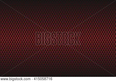 Red Carbon Fiber Hexagon Texture. Metal Mesh Black Steel Background. Dark Carbon Fiber Texture.