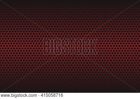 Red Carbon Fiber Hexagon Texture. Metal Mesh Black Steel Background. Dark Carbon Fiber Texture.