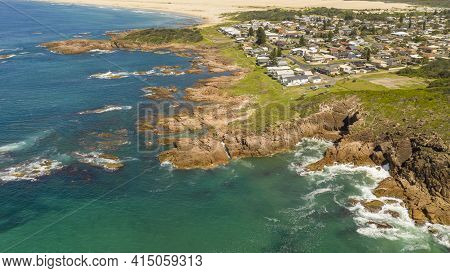 Aerial View Of The Stockton Sand Dunes And Blue Water Of The Tasman Sea At Birubi Point Near Port St