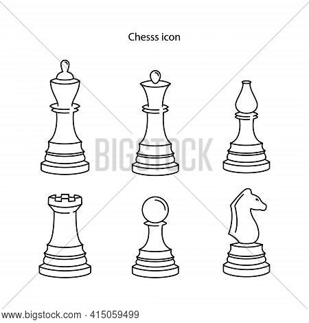 Chess Icon Isolated On White Background. Chess Icon Thin Line Outline Linear Chess Symbol For Logo,