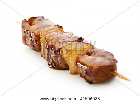 Grilled Meat  isolated over White