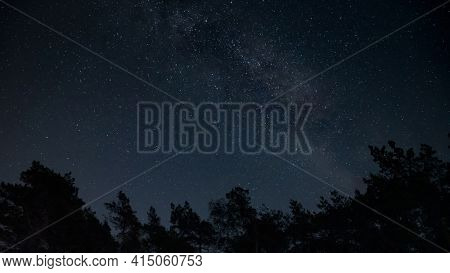 Beautiful night sky with Milky way. Landscape with stars.