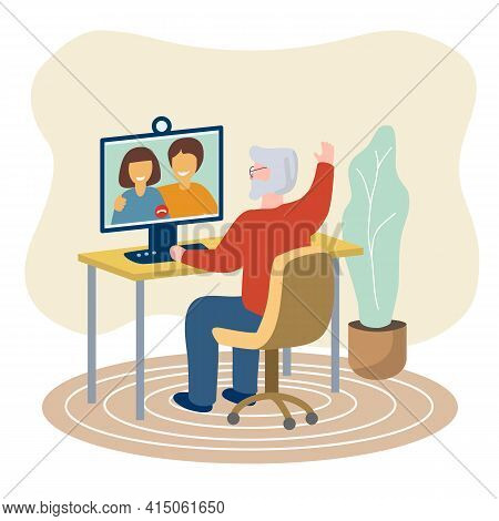 Older People Man Using Computer Sitting At The Table At Home Happy Senior Communicates With Family O