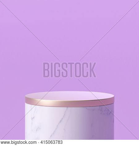 white marble podium with gold top. 3d render