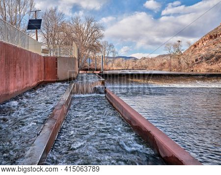 fish ladder at water diversion dam - Watson Lake Dam on the Poudre River in northern Colorado, early spring scenery