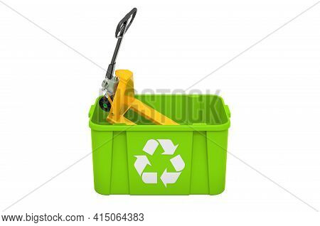 Recycling Trashcan With Pallet Truck. 3d Rendering Isolated On White Background