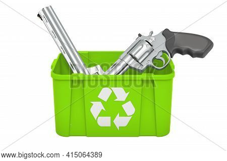 Recycling Trashcan With Revolver. 3d Rendering Isolated On White Background