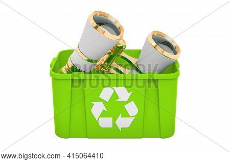 Recycling Trashcan With Theater Binoculars. 3d Rendering Isolated On White Background