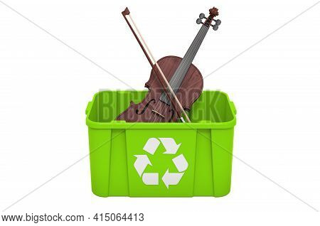 Recycling Trashcan With Violin. 3d Rendering Isolated On White Background