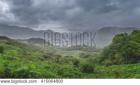 Atmospheric, Dramatic Storm Sky And Clouds, Mist And Heavy Rain In Irish Iconic Viewpoint, Ladies Vi