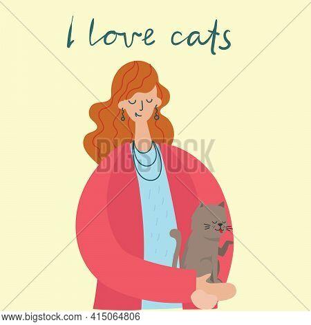 Pretty Girl Holding A Cute Cat In Her Lap.