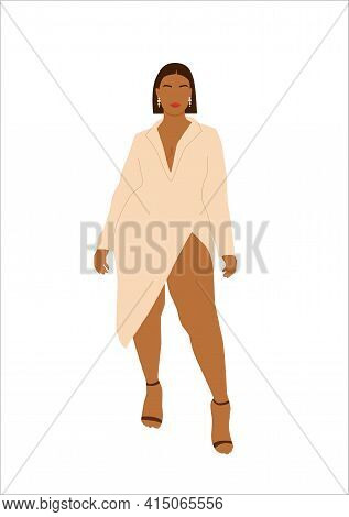 Abstract Portrait Of Plus Size Woman In Stylish Looks. Curvy Faceless Brunette With A Square Female