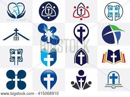 Church Icon Set. Christian Logo Sign Symbols. The Cross Of Jesus
