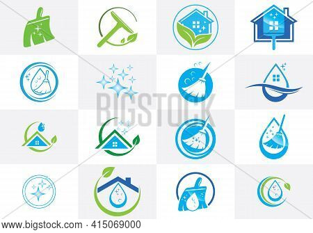 Cleaning Service Business Logo Design. Icon Set