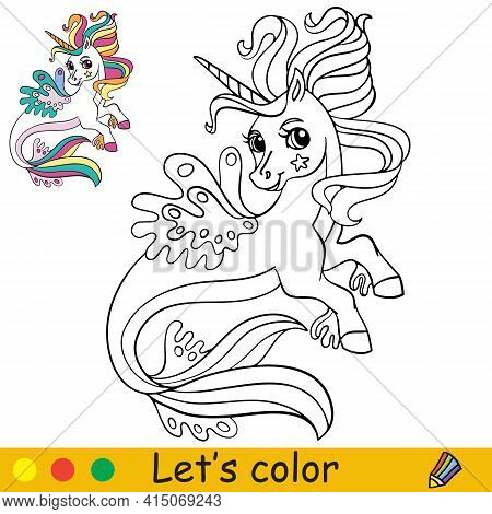Cute Cartoon Sea Unicorn. Coloring Book Page With Colorful Template. Vector Cartoon Isolated Illustr