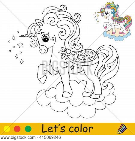Cute Cartoon Unicorn On A Cloud. Coloring Book Page With Colorful Template. Vector Cartoon Isolated