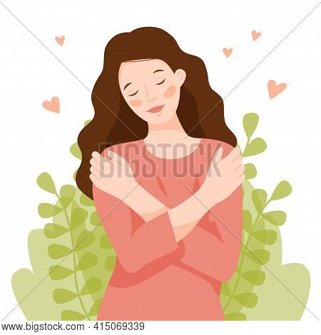 The Girl Hugs Herself By The Shoulders. A Woman Loves Her Body And Takes Care Of Herself. Love Yours