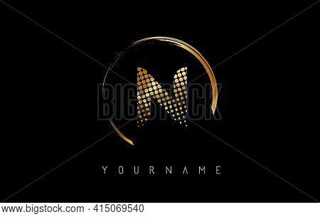 Golden N Letter Logo Design With Golden Dots And Circle Frame On Black Background. Creative Vector I
