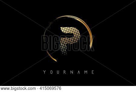 Golden P Letter Logo Design With Golden Dots And Circle Frame On Black Background. Creative Vector I