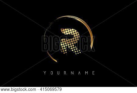 Golden R Letter Logo Design With Golden Dots And Circle Frame On Black Background. Creative Vector I