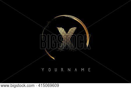 Golden X Letter Logo Design With Golden Dots And Circle Frame On Black Background. Creative Vector I