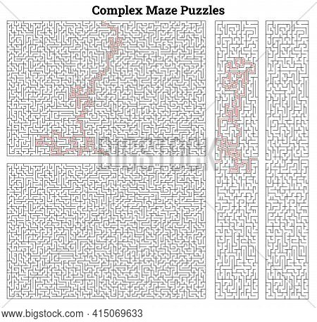 Labyrinth Templates With Solutions In Red. Vector Illustration Square Mazes For Kids At Different Le