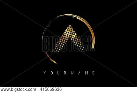 Golden A Letter Logo Design With Golden Dots And Circle Frame On Black Background. Creative Vector I