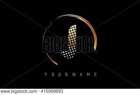 Golden J Letter Logo Design With Golden Dots And Circle Frame On Black Background. Creative Vector I