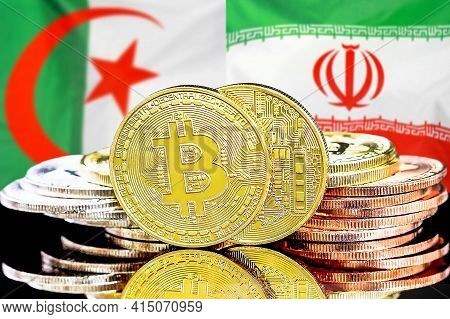 Concept For Investors In Cryptocurrency And Blockchain Technology In The Algeria And Iran. Bitcoins