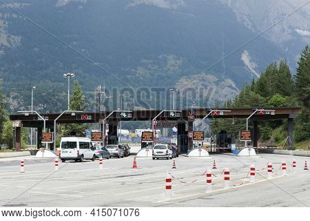 Modanne, France - July 19, 2015: Motorway Toll At The Frejus Tunnel In France. The Frejus Road Tunne