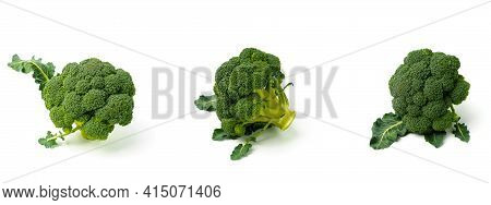 Fresh Raw Green Broccoli Isolated On White Background. Picking Broccoli In Different Forms. Healthy