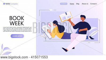 World Book Day Concept, Book Week Event. Scene With People Reading. A Young Brunette Woman Reading A