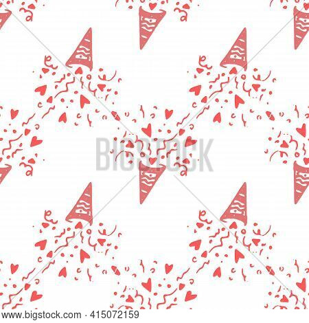 Retro Doodle Popper Hearts Pattern, Great Design For Any Purposes. Fabric Print Texture. Cartoon Sty