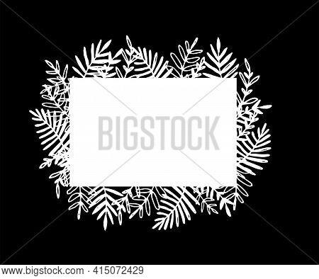 Rectangular Frame Doodle Leaves In Doodle Style On White Background. Vector Doodle Illustration. Mod