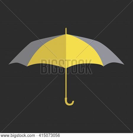 Umbrella. Yellow And Gray Color 2021. Flat Design.  Isolated On Gray Background. Stock Vector Illust