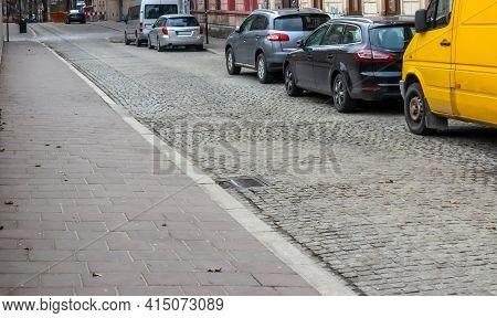 Poland Krakow Old Cobbled Street Car Lane, Footpath