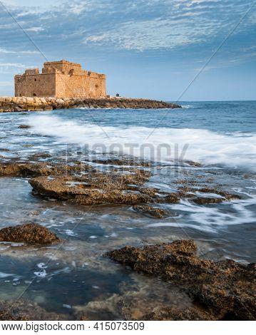 Medieval Castle Landmark In The Coastline Of Paphos City Cyprus. Travel Destination Landmark