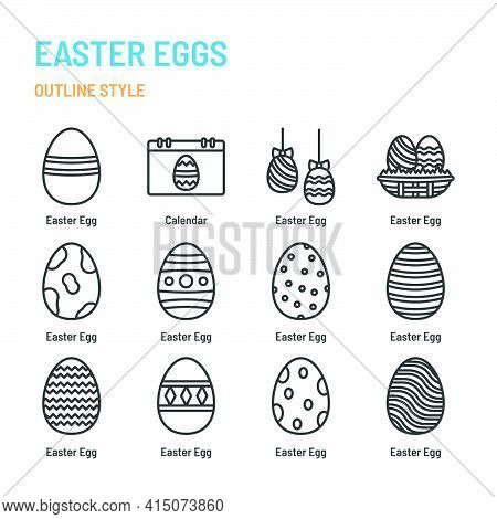 Easter Eggs In Outline Icon And Symbol Set