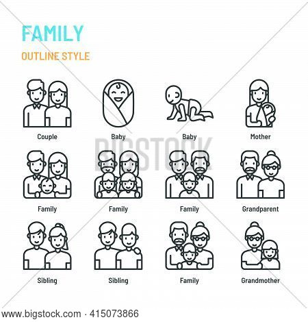 Family In Outline Icon And Symbol Set
