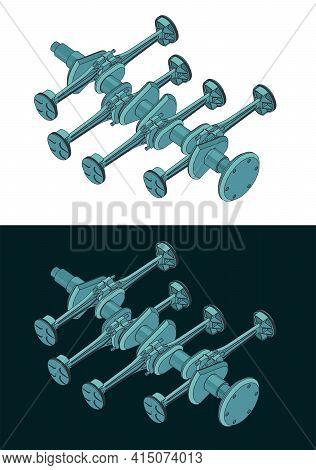 Crankshaft And Pistons Of Of Horizontally Opposed Engine