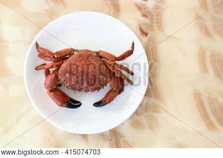 One Whole Cooked Crab On A White Plate, On Onyx Table, In Soft Light. Concept For Mediterranean Cuis