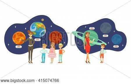 People Visiting Exhibition In Planetarium Set, Visitors Watching Models Of Planets Cartoon Vector Il