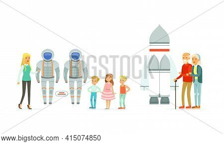 People Visiting Exhibition In Space Museum Set, Visitors Watching Space Rocket And Suits, People At