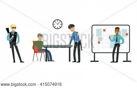 Policeman In Uniform Working At Police Station Set, Police Officer Interrogating Arrested Criminal C