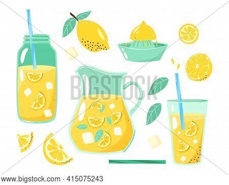Lemons, Lemon Wedges, Lemon Slices, Pitcher, Bottle And Glass Of Mouth-watering Lemonade. Set Of Fla