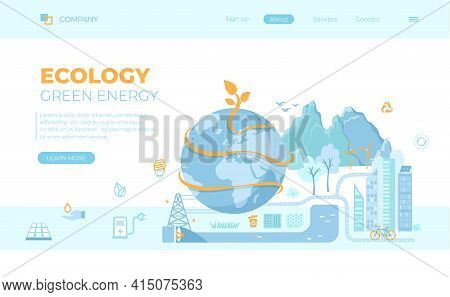 Ecology, Saving The Earth, Green Eco City Planet, Eco-friendly Conservation Concept Ideas. Solar Pan