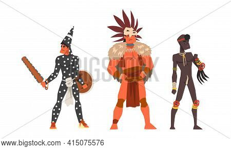 Set Of Representatives Of Ethnic Tribes, Aboriginal Indigenous Warriors Cartoon Vector Illustration