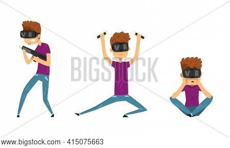 Man In Virtual Reality Headset Set, Guy Wearing Vr Helmet Playing Video Games And Entertaining Carto