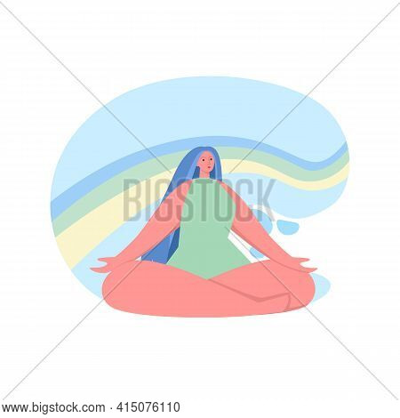 Happy Woman Sits In Lotus Pose And Open Her Arms To The Rainbow. Smiled Girl Creates Good Vibe Aroun
