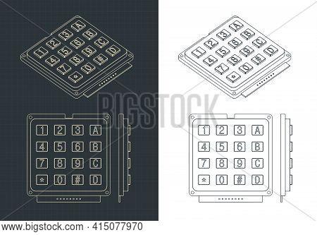 Numeric Keypad 16 Keys Drawing